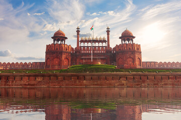 Red Fort of India, Delhi, famous fortress sunny day view view