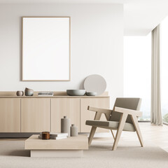 Banner in the panoramic light beige seating area with wall partition, armchair