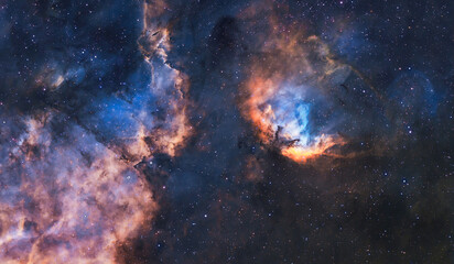 Galaxy and constellation in deep space. Stars and far galaxies. Wallpaper background. Sci-fi space wallpaper. Elements of this image furnished by NASA