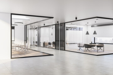 Fototapeta Modern glass meeting room interior with furniture, equipment, empty presentation posters and window with city view. 3D Rendering. obraz