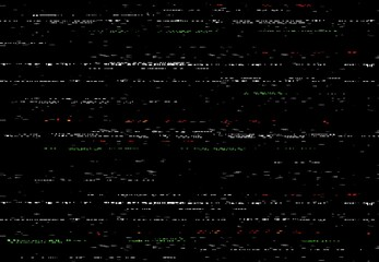 Glitch VHS screen, video glitch effect with random lines and noise. Abstract vector distortion, corrupted camera film or digital video system black background, horizontal distorted stripes, no signal