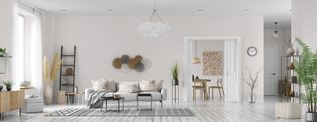 Interior design of modern scandinavian apartment, living room and dining room. Home design. Panorama 3d rendering