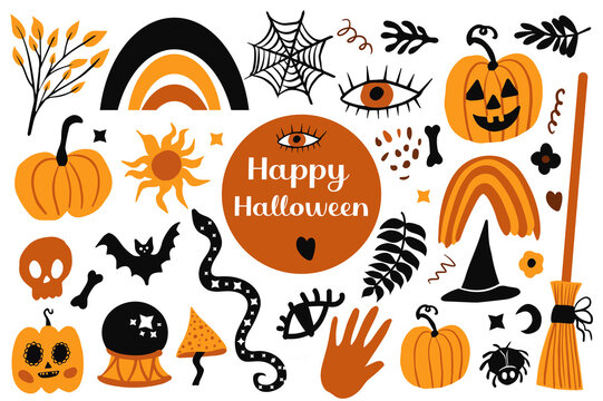 Happy halloween Boho abstract set. Bohemian mystical magic collection clip art hand drawing style. creative contemporary aesthetic doodle elements . Vector illustration
