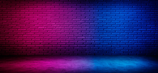 black brick wall  background with neon lighting effect pink purple and blue. glowing lights on...