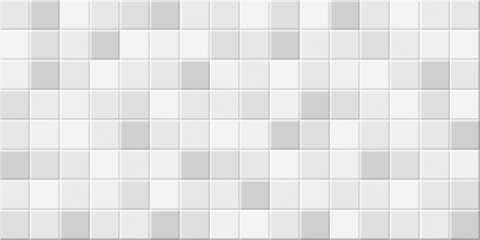 White mosaic wall tile texture, kitchen or bahtroom tile surface, illustration pixel background