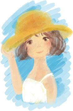 水彩画のように柔らかいタッチの、麦わら帽子と白いワンピースを身につけた可愛い女の子