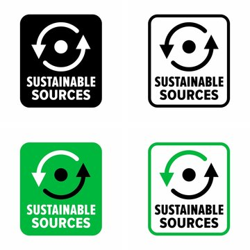 """""""Sustainable sources"""" of renewable energy information sign"""