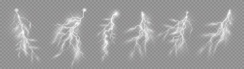 Obraz Set of zippers, thunderstorm and effect lightning. - fototapety do salonu