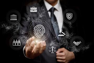 Lawyer shows fingerprint icon .