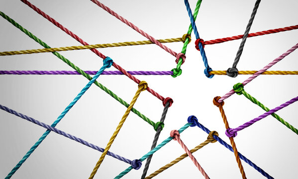 Star team concept as a business metaphor with a connected group of ropes shaped as a winning symbol representing diverse unity or diversity partnership and support network