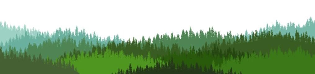 Naaldbos silhouet. Wilde bomen. Pijnboom, ceder, spar, spar, lariks. Siberische taiga. De schoonheid van de harde noordelijke natuur. Het landschap is horizontaal. Illustratie vector