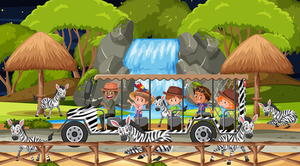 Safari at night scene with kids watching zebra group