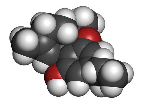 Tetrahydrocannabivarin or THCV cannabinoid molecule. 3D rendering.