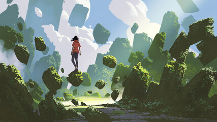 fantasy landscape showing a woman standing on a rock floating in midair, digital art style, illustration painting