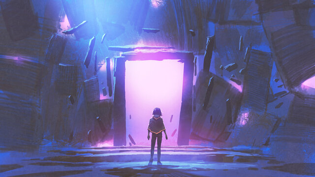A kid standing in front of the glowing purple entrance to go to another place, digital art style, illustration painting