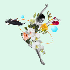 Dancing woman a ballet dancer or performer with flowers. Copyspace. Modern design. Contemporary art...