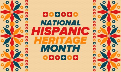 Fototapeta National Hispanic Heritage Month in September and October. Hispanic and Latino Americans culture. Celebrate annual in United States. Poster, card, banner and background. Vector illustration obraz