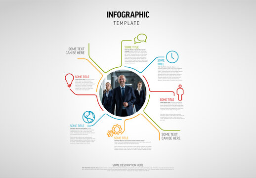 Infographic Circle Layout Made from Lines and Photo