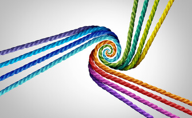 Group partners united and diverse partnership as a center point of focus with rope objects combined together representing team or teamwork unity.