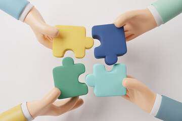 Hand of people connecting jigsaw puzzle. Symbol of teamwork, Business strategy concept. cooperation, partnership. 3d render.
