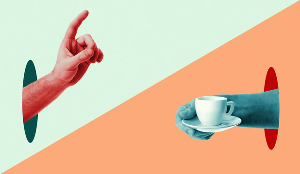 Hands. Ordering coffee and the waiter brings coffee in the morning in cafe. Provocative modern design. Сontemporary art collage in trendy urban minimalistic magazine style.