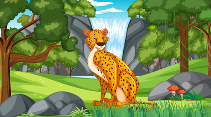 Cheetah in forest or rainforest at daytime scene