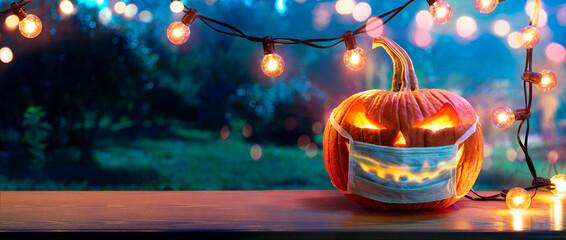 Fototapeta Pumpkin With Protective Mask - Halloween In Outdoor obraz