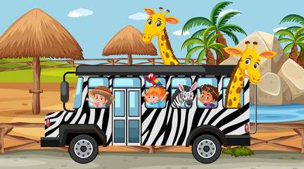 Safari scene at daytime with kids and animals on bus