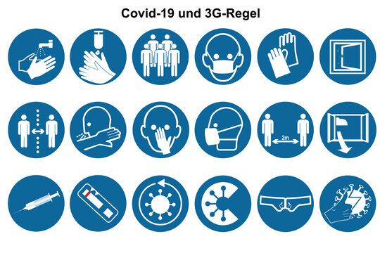 Sammlung von Symbolen für Covid-19 und die 3G Regel.