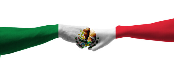 Fototapeta Hands painted in colors of Mexican flag on white background obraz