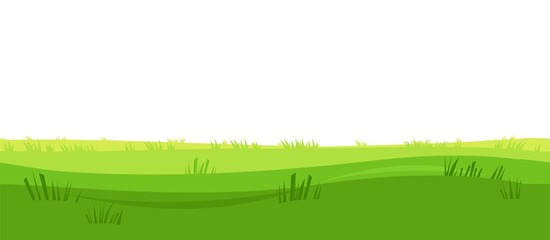 Silhouette of the grass. Summer green meadow. Rural simple and cute landscape. Seamless isolated image. Horizontal natural illustration. Vector