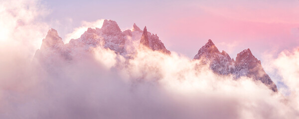French Alps dawn mountains landscape with clouds