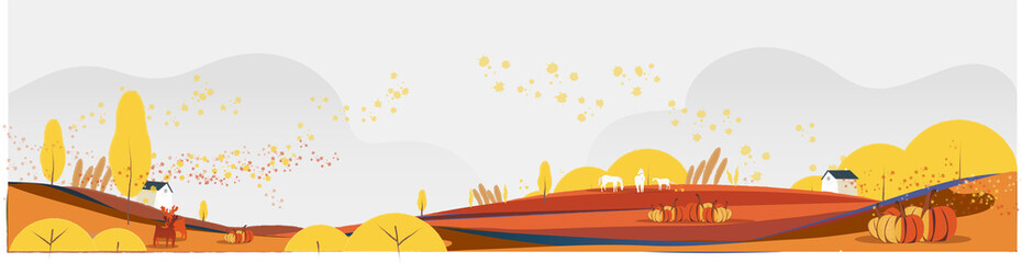 Flat banner vector illustration of Autumn or falls season.Rural countryside background with hut foliage leaves ,horses,deer and pumpkins.Wind blowing against autumn rural background.