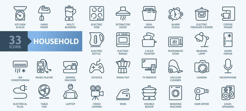 Household appliances - thin line web icon set. Outline icons collection. Simple vector illustration.