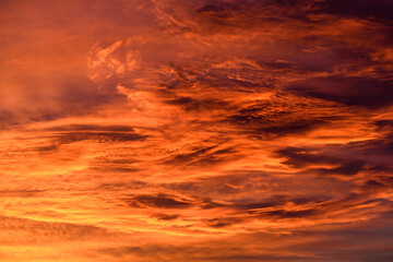 Beautiful fiery orange sky and clouds after the sunset