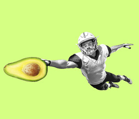 Fit young man running with good food on color background. Male american football player with...