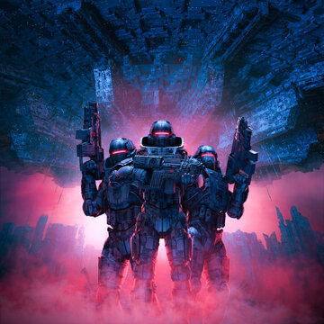 Cyberpunk soldiers city patrol - 3D illustration of science fiction military robot warriorw standing amid rubble in war torn futuristic city with with giant space ship in the sky above