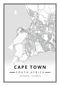 Street map art of Cape Town city in South Africa - Africa