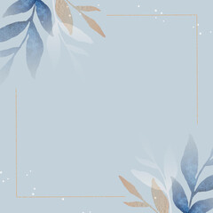 Blank leafy square frame social ads template vector