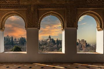 raam in het paleis Al-Hambra