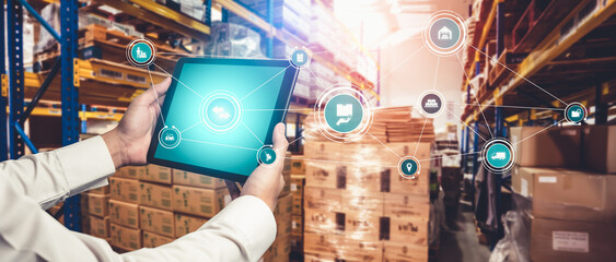 Fototapeta Smart warehouse management system with innovative internet of things technology to identify package picking and delivery . Future concept of supply chain and logistic network business . obraz