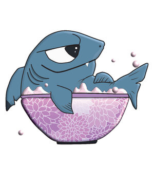 small shark sits in the bathtub and bathes