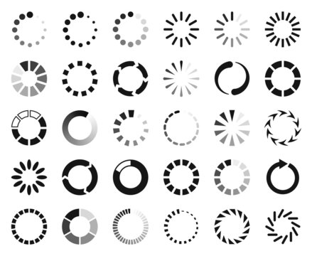Loading icon, buffering and loader web interface symbol. Circle progress bar, website download progression, reboot icon vector set. Uploading rotating round process, different elements