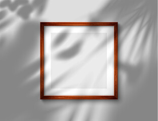 Fototapeta Realistic brown picture frame with blank pano for your design. Frame with overlay tropical shadow from the window. Vector illustration Ai 10, Eps 10 and Jpeg obraz