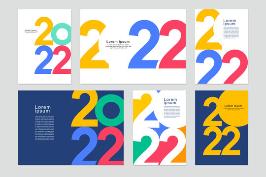 2022 template design with copy space. Strong typography. Colorful and easy to remember. Design for branding, presentation, portfolio, business, education, banner. Vector, illustration