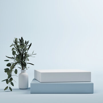 Mockup podium for creative product presentation,  Abstract geometric blue background.