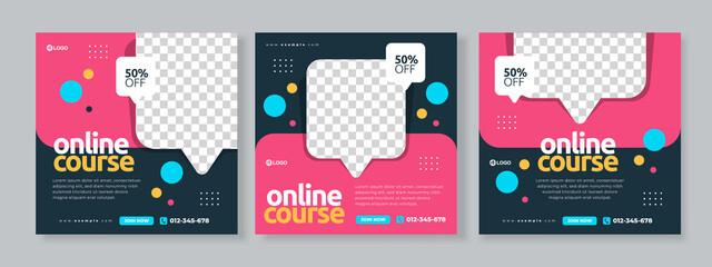 Fototapeta online course social media pack template premium vector obraz