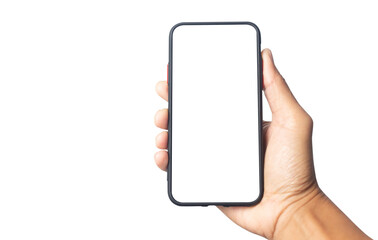 Fototapeta Hand holding black smartphone with white screen mockup and isolated on white background and copy space , smartphone frameless application design concept.  obraz