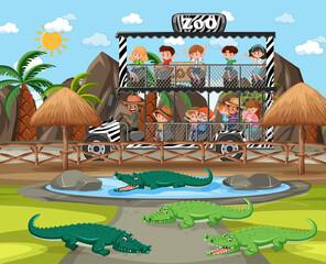 Safari scene with kids on tourist car watching alligator group
