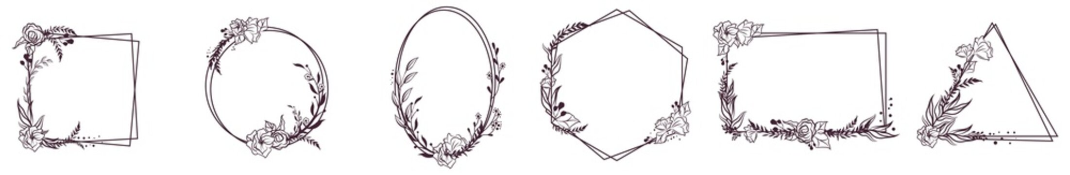 Doodle Hand Drawn Decorative Outlined Wreaths with Branches, Herbs, Plants, Leaves and Flowers, Florals. Vector Illustration. Frames, Circles.